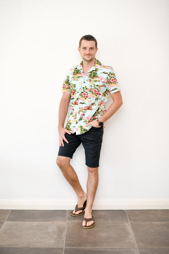 Malia Blue Flamingo Island Print Men's Shirt