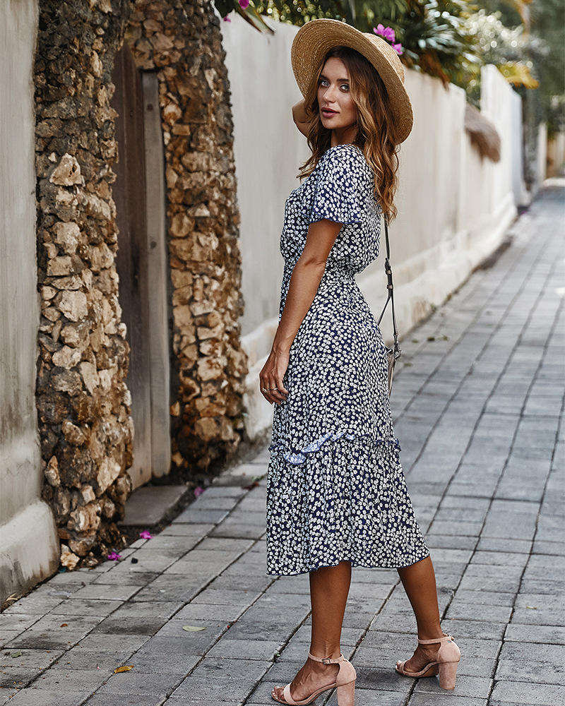 Amaya Boho Chic Midi Navy Dress