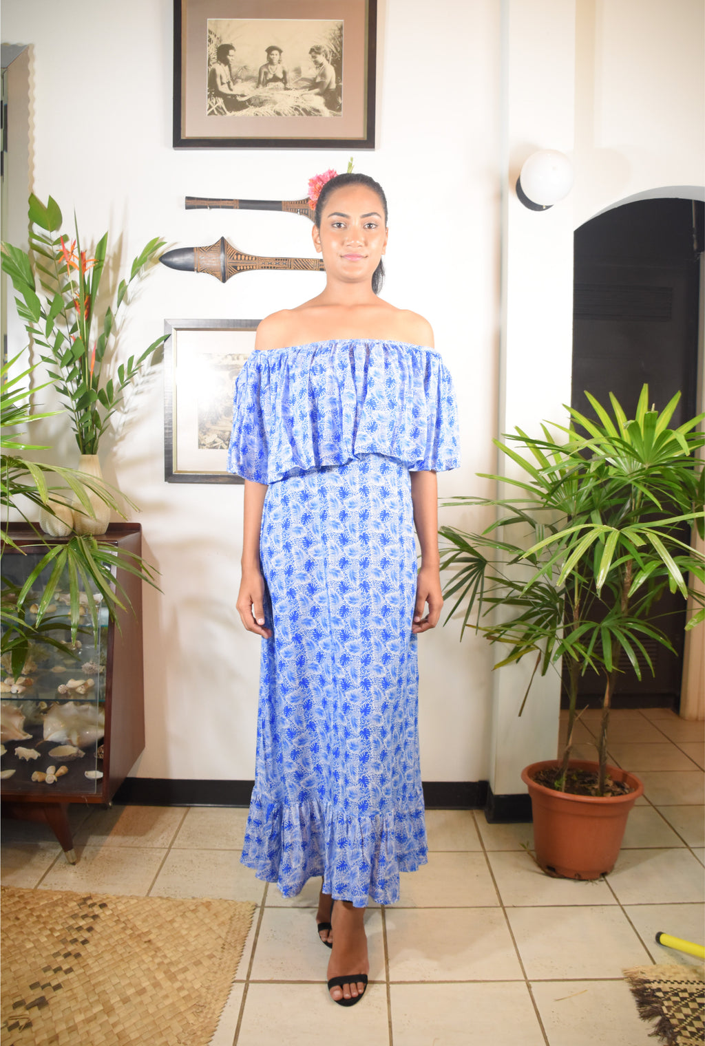 RK Sonia Dress Blue Leave