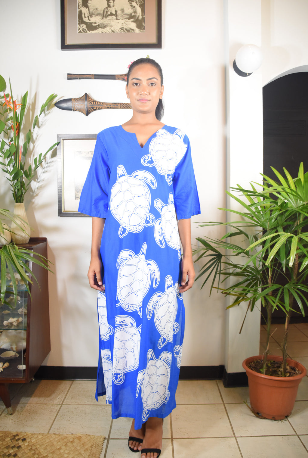 RK Rosa Dress Blue White Turtle