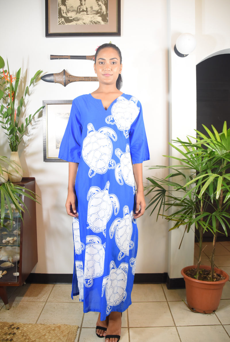 Rosa Dress Blue White Turtle