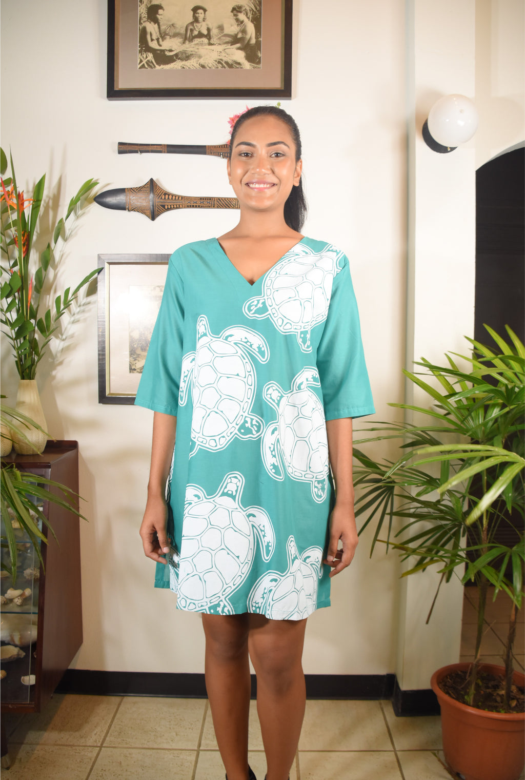 RK Ramada Dress Turq White Turtle