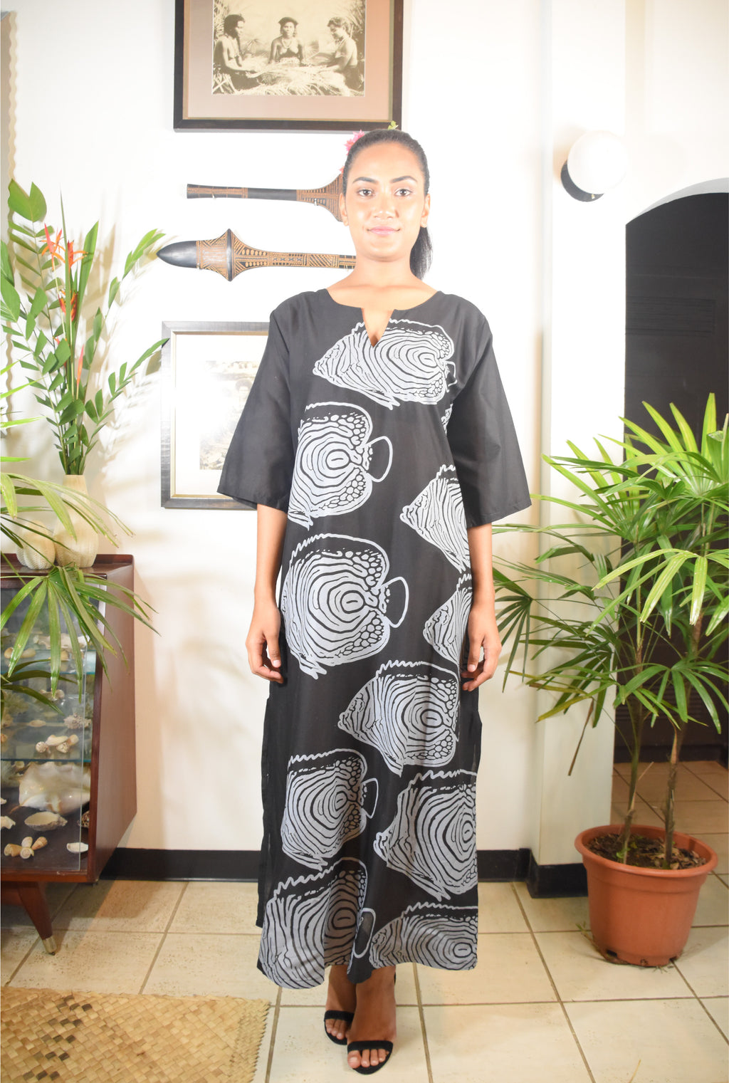 RK Rosa Dress Black Grey Fish