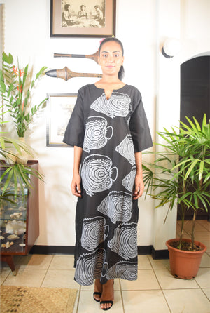Rosa Dress Black Grey Fish