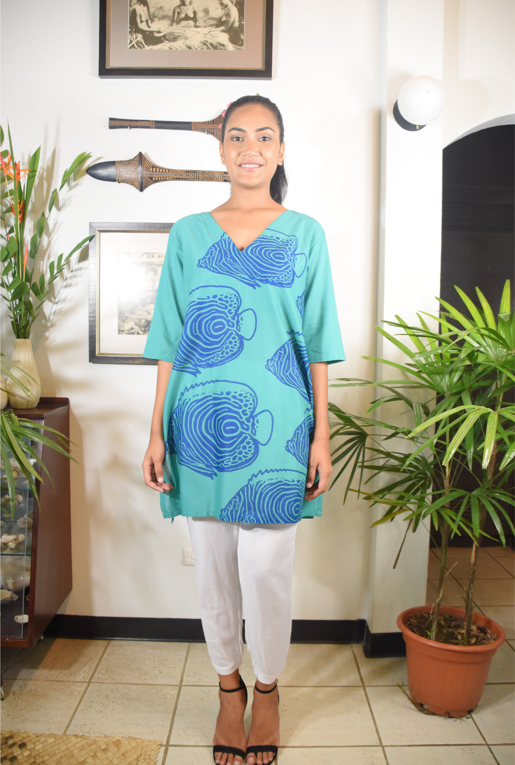 RK Ramada Dress Turq Blue Fish