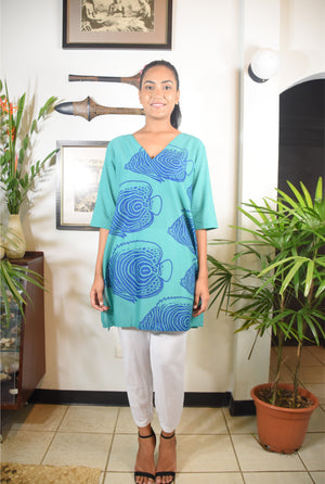 Ramada Dress Turq Blue Fish