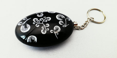 Key Chain Personal Alarm 120 db- Flower Pattern (Black) - The Personal Security Company