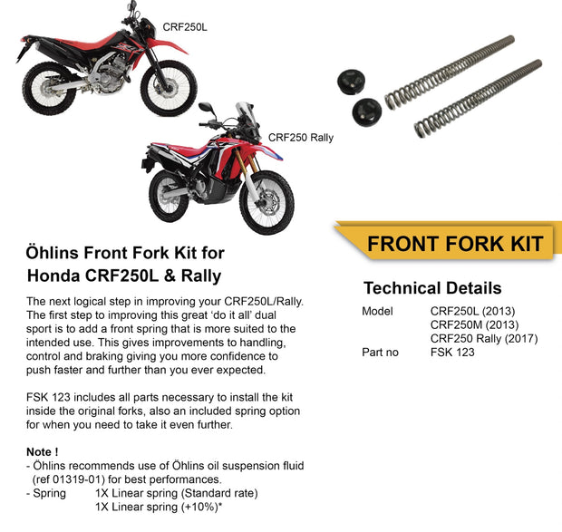 Ohlins Fork Spring Kit for Honda CRF 250L 2013-2020