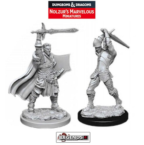 DUNGEONS & DRAGONS - UNPAINTED MINIATURES:  Male Human Paladin   (2)   #WZK90060
