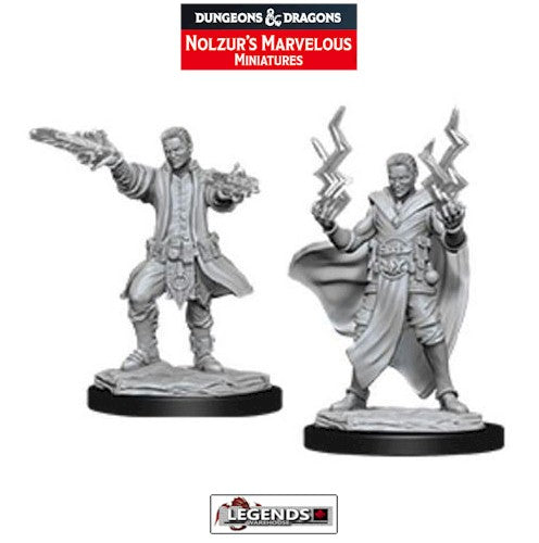 DUNGEONS & DRAGONS - UNPAINTED MINIATURES:  Male Human Sorcerer  (2)   #WZK90053