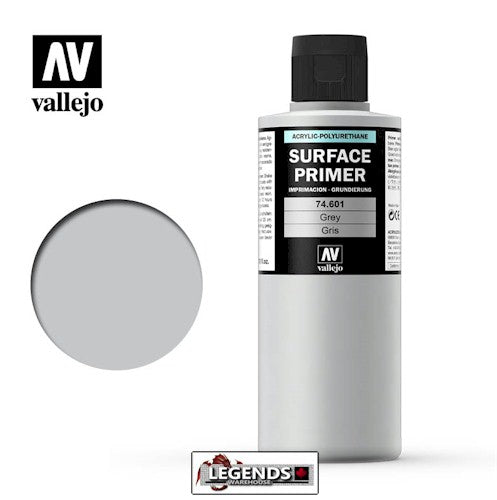 VALLEJO - SURFACE PRIMER  -  GREY  (200ml)   Product #VAL 74.601-200
