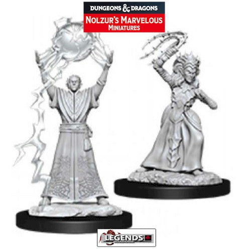 DUNGEONS & DRAGONS - UNPAINTED MINIATURES:  DROW MAGE / DROW PRIESTESS (2)   #WZK90071