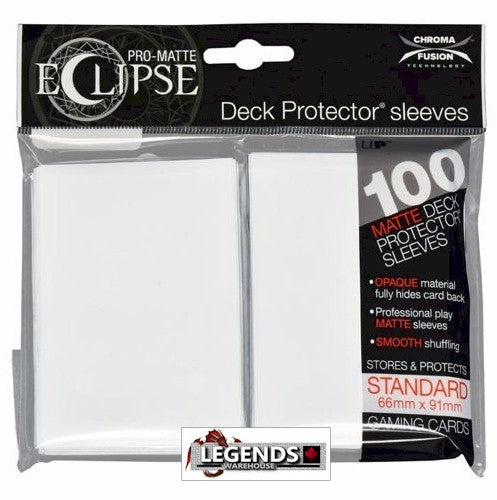 ULTRA PRO - DECK SLEEVES - PRO-MATTE Eclipse (100ct) Standard WHITE