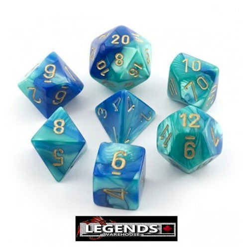 CHESSEX ROLEPLAYING DICE - Gemini Blue-Teal 7-Dice Set  (CHX26459)