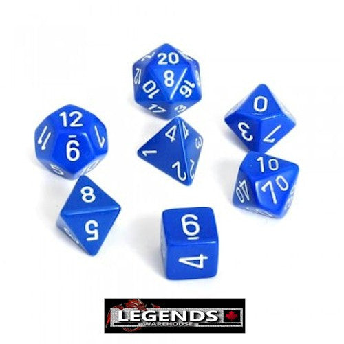 CHESSEX ROLEPLAYING DICE - Opaque Blue/White 7-Dice Set  (CHX25406)