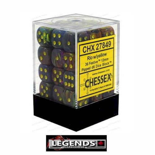 CHESSEX - D6 - 12MM X36  - Festive: 36D6 Rio / Yellow (CHX27849)