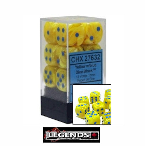 CHESSEX - D6 - 16MM X12 - Vortex: 12D6 Yellow / Blue  (CHX 27632)