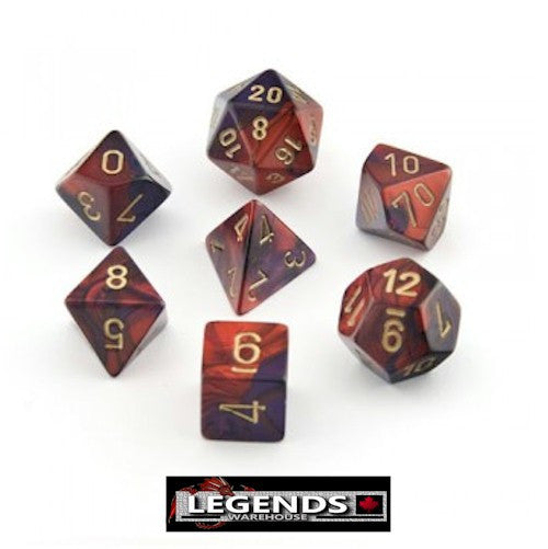 CHESSEX ROLEPLAYING DICE - Gemini Red-Purple 7-Dice Set  (CHX 26426)