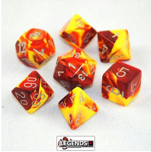 CHESSEX ROLEPLAYING DICE - Gemini Red-Yellow/Silver 7-Dice Set  (CHX 26450)