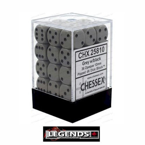 CHESSEX - D6 - 12MM X36  - Opaque: 36D6 Grey / Black  (CHX 25810)