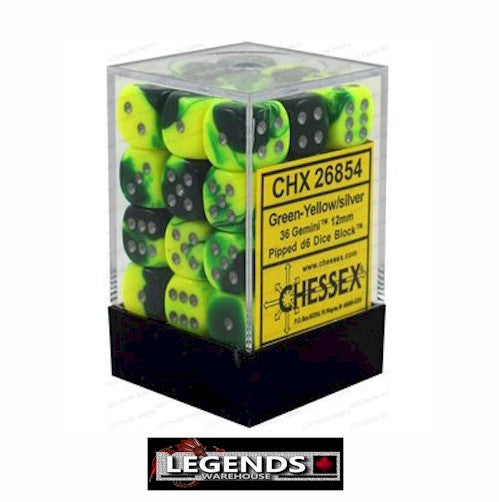 CHESSEX - D6 - 12MM X36  -Gemini: 36D6 Green-Yellow / Silver  (CHX 26854)