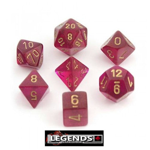 CHESSEX ROLEPLAYING DICE - Borealis Magenta 7-Dice Set  (CHX 27424)