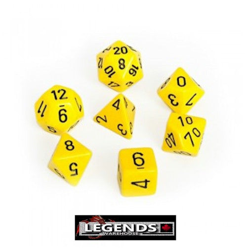 CHESSEX ROLEPLAYING DICE - Opaque Yellow 7-Dice Set  (CHX 25402)