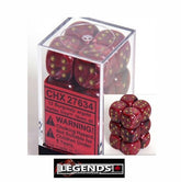 CHESSEX - D6 - 16MM X12 - Vortex: 12D6 Burgundy / Gold  (CHX 27634)