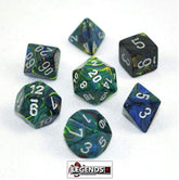 CHESSEX ROLEPLAYING DICE - Festive Green/Silver 7-Dice Set  (CHX 27445)