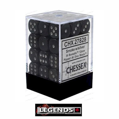 CHESSEX - D6 - 12MM X36  - Borealis: 36D6 Smoke / Silver (CHX 27828)