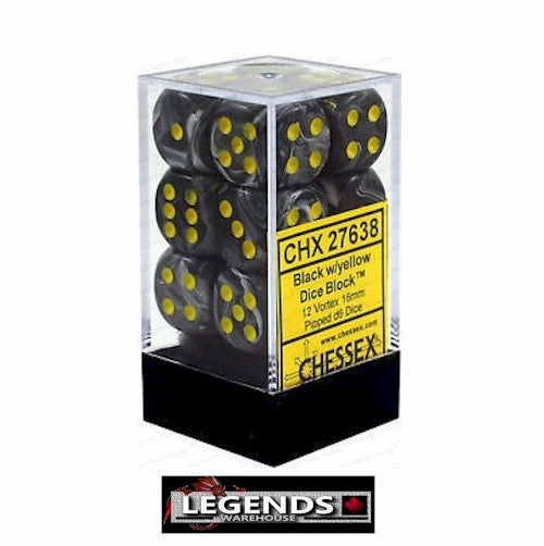 CHESSEX - D6 - 16MM X12  - Vortex: 12D6 Black / Yellow  (CHX27638)