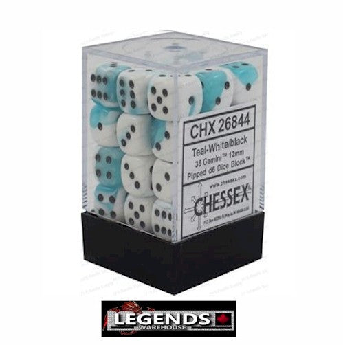 CHESSEX - D6 - 12MM X36  - Gemini: 36D6 White-Teal / Black  (CHX 26844)