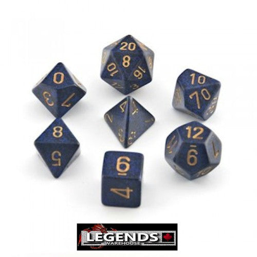 CHESSEX ROLEPLAYING DICE - Speckled Golden Cobalt 7-Dice Set  (CHX 25337)