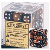 DICE - D6 - 36 Black-Copper w/white Gemini 12mm D6 Dice Block - CHX26827