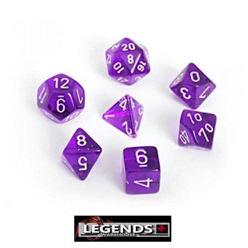 CHESSEX ROLEPLAYING DICE - Translucent Purple 7-Dice Set  (CHX 23007)