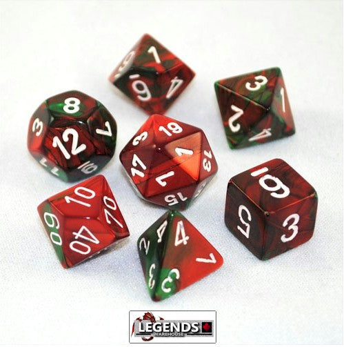 CHESSEX ROLEPLAYING DICE - Gemini Green-Red/White 7-Dice Set  (CHX 26431)