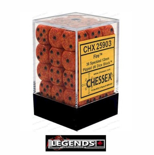 CHESSEX - D6 - 12MM X36  - Speckled: 36D6 Fire  (CHX25903)