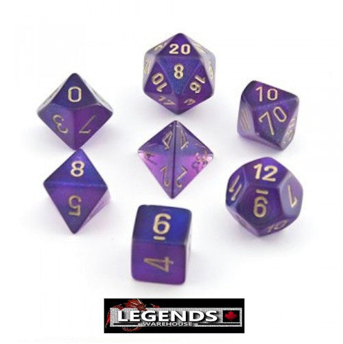 CHESSEX ROLEPLAYING DICE - Borealis Royal Purple/Gold 7-Dice Set  (CHX27467)