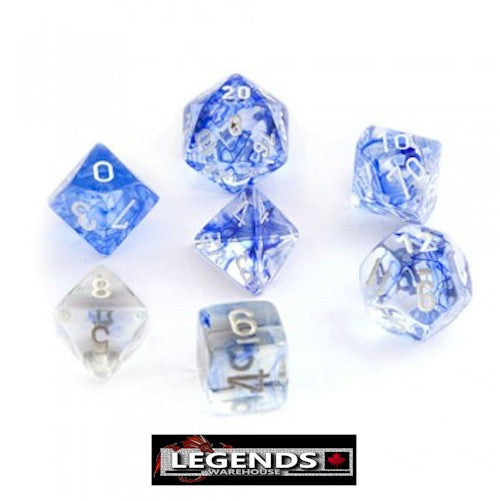 CHESSEX ROLEPLAYING DICE - Nebula Blue/White 7-Dice Set  (CHX 27466)