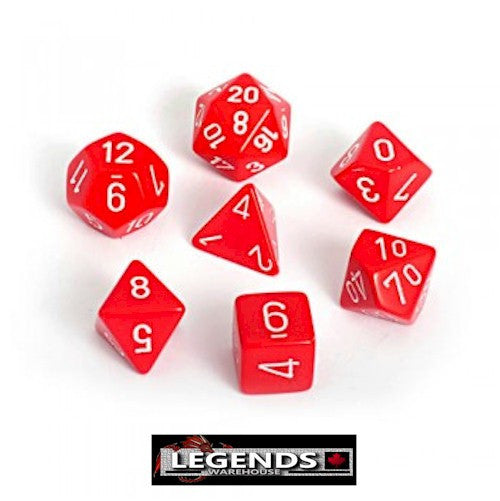 CHESSEX ROLEPLAYING DICE - Opaque Red 7-Dice Set  (CHX 25404)