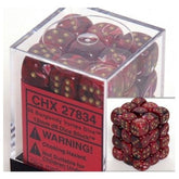 DICE - D6 -36 Burgundy / Gold Vortex Dice 12mm D6 Dice Block - CHX27834