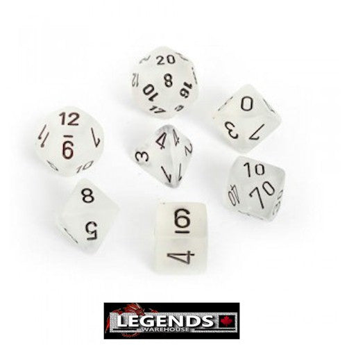 CHESSEX ROLEPLAYING DICE - Frosted Clear 7-Dice Set  (CHX 27401)