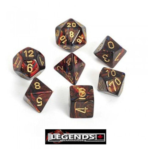 CHESSEX ROLEPLAYING DICE - Scarab Blue Blood 7-Dice Set  (CHX 27419)