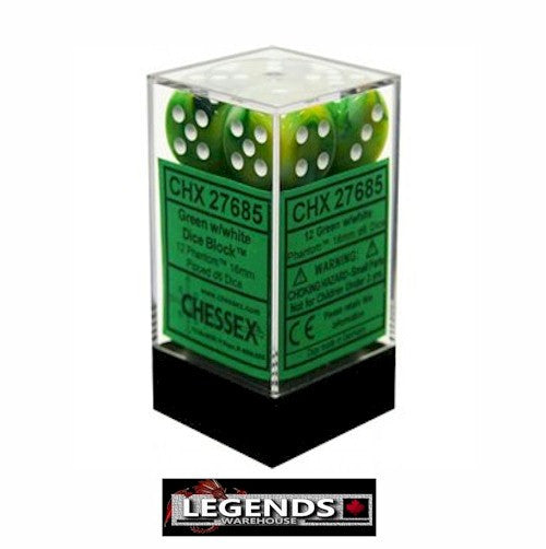 CHESSEX - D6 - 16MM X12  - Phantom: 12D6 Green / White  (CHX 27685)