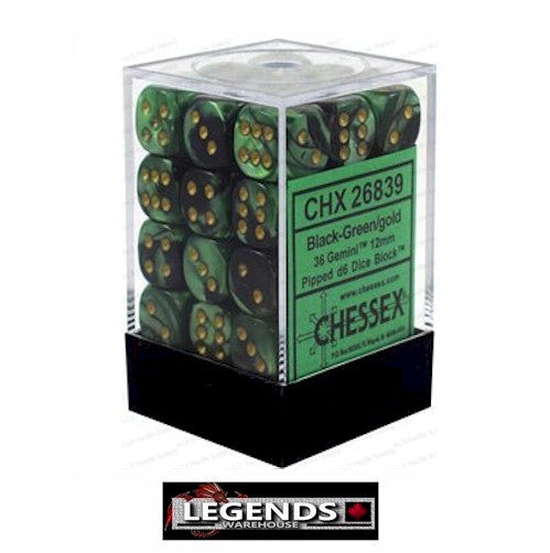 CHESSEX - D6 - 12MM X36  - Gemini: 36D6 Black-Green / Gold (CHX 26839)