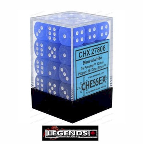 CHESSEX - D6 - 12MM X36  - Frosted: 36D6 Blue/White (CHX27806)