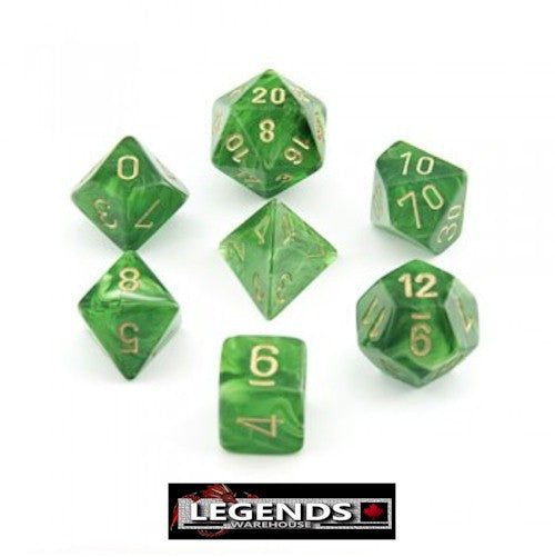 CHESSEX ROLEPLAYING DICE - Vortex Green Gold 7-Dice Set (CHX 27435)