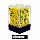 CHESSEX - D6 - 12MM X36  - Opaque: 36D6 Yellow / Black  ((CHX25802)