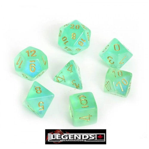 CHESSEX ROLEPLAYING DICE - Borealis Light Green/Gold 7-Dice Set  (CHX27425)