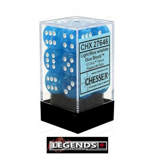 CHESSEX - D6 - 16MM X12  - Cirrus: 12D6 Light Blue / White  (CHX 27646)